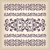 stock photo of arabic calligraphy  - Vector set vintage ornate border frame with retro ornament pattern in antique baroque style - JPG