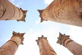 stock photo of artemis  - Columns of the Roman Temple of Artemis in Jerash - JPG