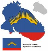 pic of murmansk  - Outline map of Murmansk Oblast with flag - JPG