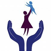 picture of babysitter  - Mother and child symbols in supporting hand - JPG