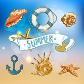 picture of lifeline  - Summer Card with Sea Shells - JPG