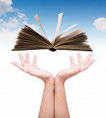 stock photo of single woman  - Women hand holding book over blue sky - JPG