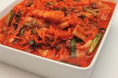 picture of kimchi  - Kimchi into a bowl korean vegetarian food - JPG