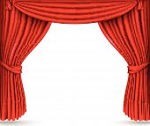foto of curtains stage  - red silk curtains stage curtain, theater, vector ** Note: generated JPEG slightly pixelated, due to small vector size - JPG