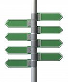 pic of generic  - A collection of generic blank directional street signs eith facing left or right on a pole on an isolated white background - JPG