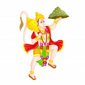 stock photo of dharma  - easy to edit vector illustration of Lord Hanuman in floral design - JPG