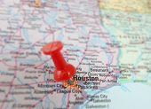 foto of texas map  - Closeup of a map of Houston Texas with magnifying glass