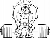 stock photo of strongman  - Black and White Cartoon Illustrations of Strongman Athlete or Weightlifting Sportsman for Coloring Book - JPG