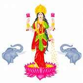 image of lakshmi  - easy to edit vector illustration of Goddess Lakshmi - JPG