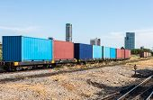 stock photo of boxcar  - container wagon near the center station in urban city - JPG