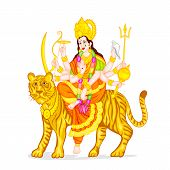 picture of durga  - easy to edit vector illustration of Goddess Durga - JPG