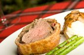 stock photo of beef wellington  - beef wellington tenderloin wrapped in ham mushrooms and puffy pastry - JPG