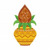 picture of navratri  - easy to edit vector illustration of kalash  in floral design - JPG