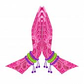 picture of namaste  - easy to edit vector illustration of Indian Hand in greeting posture of namaste in floral design - JPG