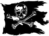 picture of skull crossbones flag  - black pirate flag with skull and crossbones - JPG