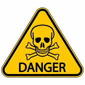 pic of chemical weapon  - Skull and bones danger triangular sign - JPG