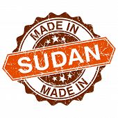 stock photo of sudan  - made in Sudan vintage stamp isolated on white background - JPG