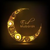image of eid mubarak  - Shiny floral design decorated crescent moon on brown background for Eid Mubarak festival celebrations - JPG