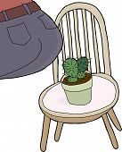 image of rear-end  - Rear end of person sitting on chair with cactus - JPG