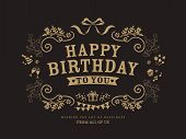 stock photo of birth  - Birthday card design vintage frame style background template - JPG