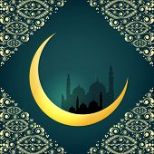 picture of crescent  - Crescent golden moon on floral decorated green background for holy month of Muslim community Ramadan Kareem - JPG