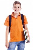 picture of attitude boy  - Portrait of a school boy with backpack holding notebooks - JPG