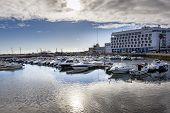 stock photo of faro  - Wide view of the marina of Faro city in South of Portugal.