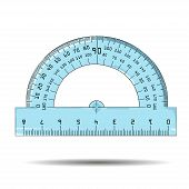 image of protractor  - Vector illustration of protractor on white background - JPG