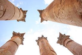 picture of artemis  - Columns of the Roman Temple of Artemis in Jerash - JPG