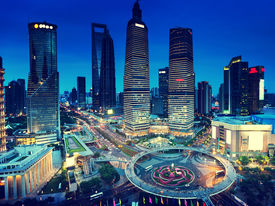 picture of nightfall  - shanghai night view from the oriental pearl tower  - JPG
