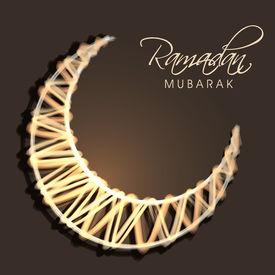 picture of ramazan mubarak  - Shiny golden crescent moon on brown background for holy month of Muslim community Ramadan Mubarak - JPG