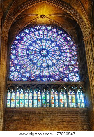 The North Rose Stained-glass Window In Notre Dame De Paris
