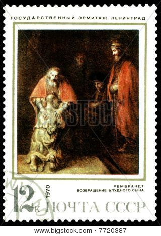 Vintage  Postage Stamp. Rembrandt. Returning Of The Prodigal Son