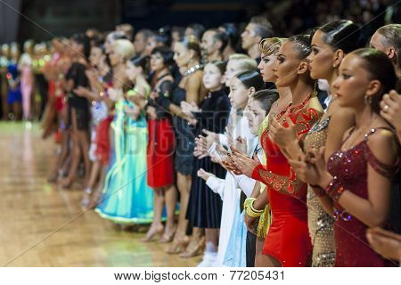 Minsk-Belarus, October 4, 2014: Dance couples standing prior to the WDSF World Open Minsk Championsh