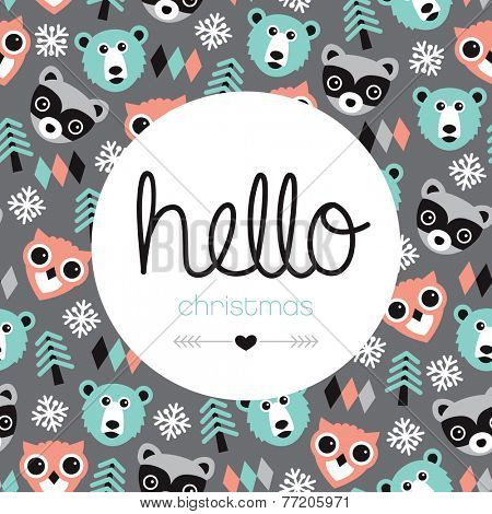 Hello christmas woodland animals owl bear and raccoon illustration holiday greeting card cover design background in vector