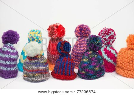knitted bobble caps using for eggs