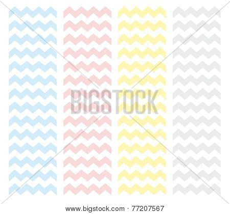 Zig zag chevron vector pastel pattern set