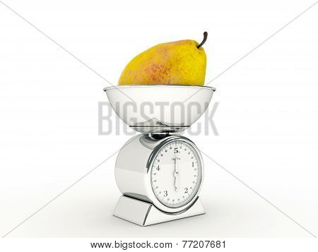 kitchen scale with giant pear