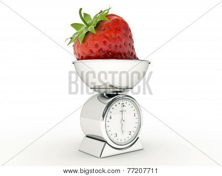 kitchen scale with giant strawberry