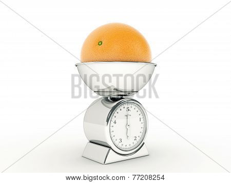 kitchen scale with giant orange