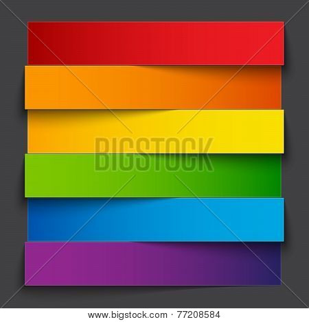 Infographics rainbow paper stripe banners with shadows on dark grey background