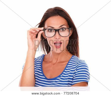 Pretty Female Smiling And Wearing Spectacles
