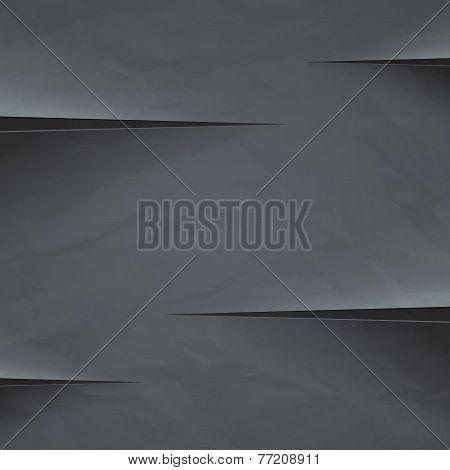 Dark grey crumpled paper cut background