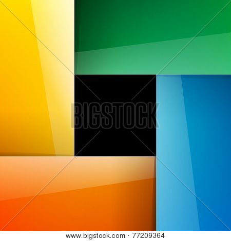 Blue, green, yellow and orange shiny paper rectangles background