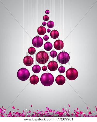 Christmas tree with magenta christmas balls. Vector illustration.