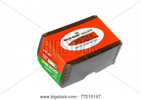 Hayward, CA - November 26, 2014: Box of 100 Nosler Brand .338 caliber Boat Tail Ballistic Tip, Solid base Bullets for Reloading ammunition