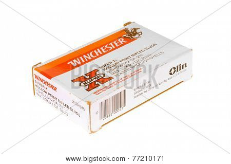 Hayward, CA - November 26, 2014: Box of 5 Winchester brand shotgun shells with Hollow point rifled slugs