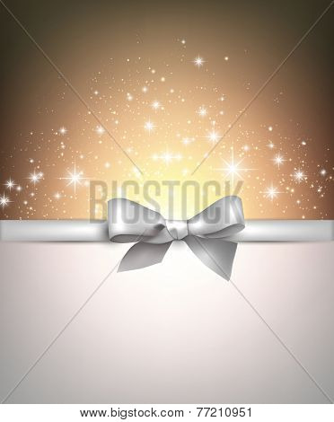 Shiny blue starry christmas background with red bow. Vector Illustration.