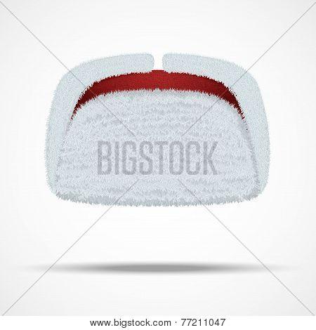 Russian white winter fur hat ushanka.