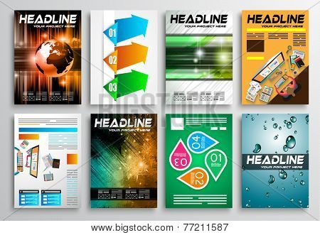 Set of Flyer Design, Web Templates. Brochure Designs, Technology Backgrounds. Mobile Technologies, Infographics  ans statistic Concepts and Applications covers.
